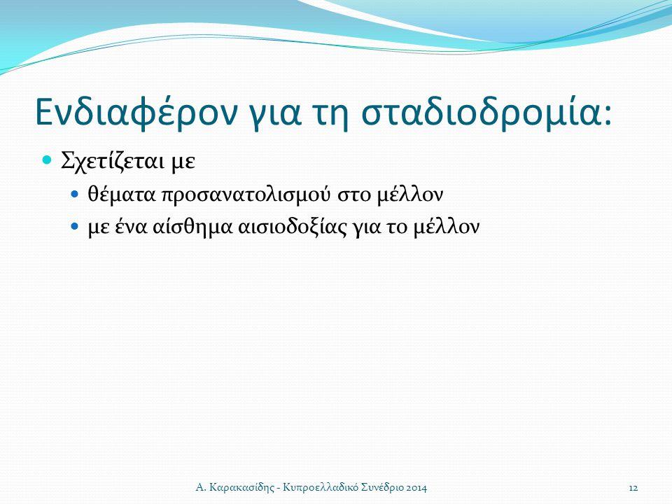 Ενδιαφέρον για τη σταδιοδρομία: Σχετίζεται με θέματα προσανατολισμού στο μέλλον με ένα αίσθημα αισιοδοξίας για το μέλλον 12Α. Καρακασίδης - Κυπροελλαδ
