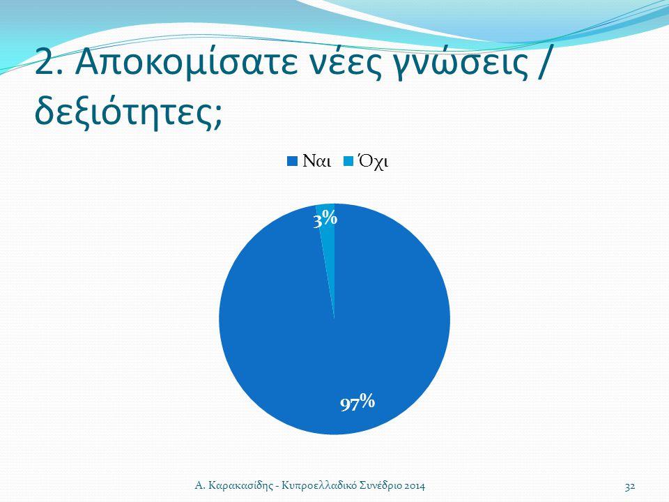 2. Αποκομίσατε νέες γνώσεις / δεξιότητες; 32Α. Καρακασίδης - Κυπροελλαδικό Συνέδριο 2014