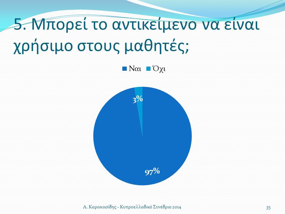5. Μπορεί το αντικείμενο να είναι χρήσιμο στους μαθητές; 35Α. Καρακασίδης - Κυπροελλαδικό Συνέδριο 2014