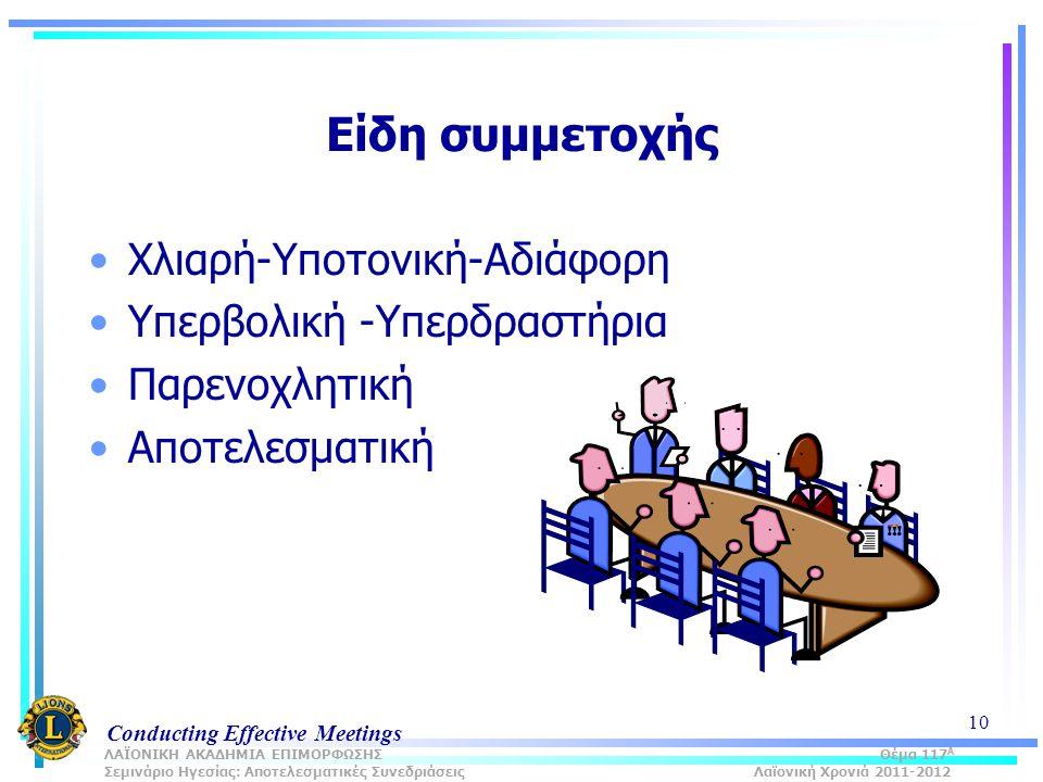 Conducting Effective Meetings 10 Είδη συμμετοχής Χλιαρή-Υποτονική-Αδιάφορη Υπερβολική -Υπερδραστήρια Παρενοχλητική Αποτελεσματική ΛΑΪΟΝΙΚΗ ΑΚΑΔΗΜΙΑ ΕΠΙΜΟΡΦΩΣΗΣ Θέμα 117 Α Σεμινάριο Ηγεσίας: Αποτελεσματικές Συνεδριάσεις Λαϊονική Χρονιά 2011-2012