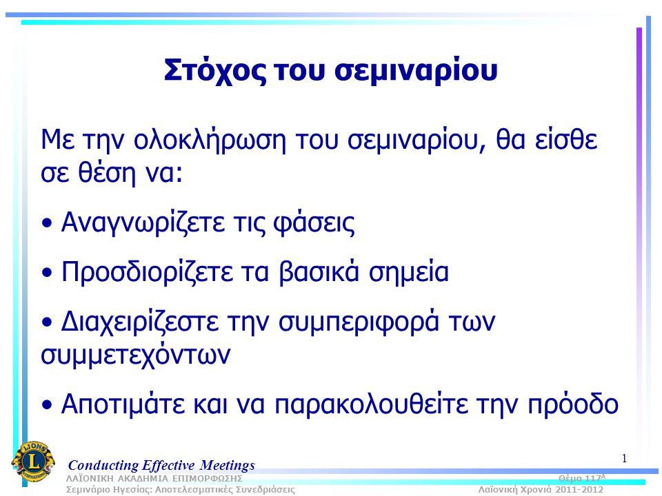 Conducting Effective Meetings 1 Στόχος του σεμιναρίου Με την ολοκλήρωση του σεμιναρίου, θα είσθε σε θέση να: Αναγνωρίζετε τις φάσεις Προσδιορίζετε τα βασικά σημεία Διαχειρίζεστε την συμπεριφορά των συμμετεχόντων Αποτιμάτε και να παρακολουθείτε την πρόοδο ΛΑΪΟΝΙΚΗ ΑΚΑΔΗΜΙΑ ΕΠΙΜΟΡΦΩΣΗΣ Θέμα 117 Α Σεμινάριο Ηγεσίας: Αποτελεσματικές Συνεδριάσεις Λαϊονική Χρονιά 2011-2012