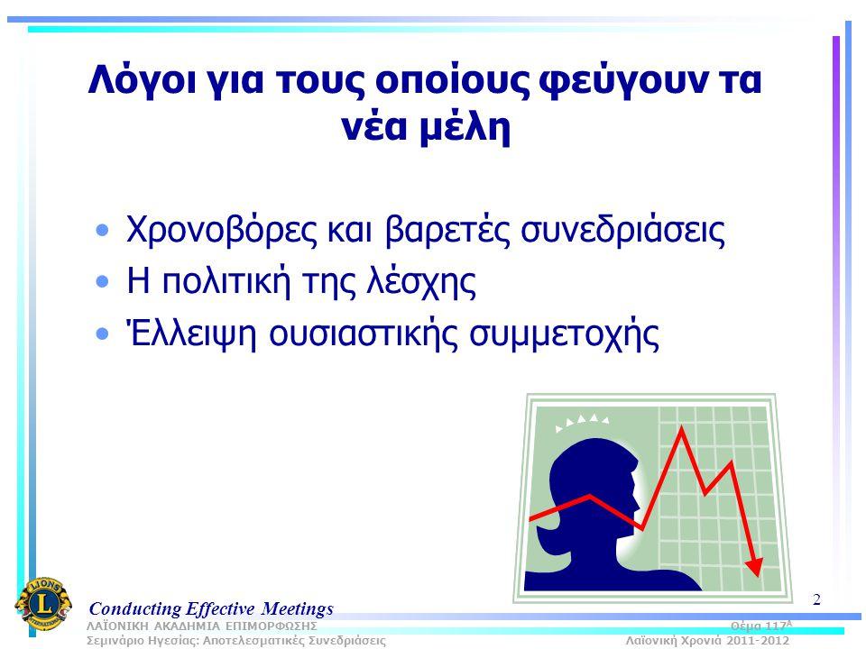 Conducting Effective Meetings 2 Λόγοι για τους οποίους φεύγουν τα νέα μέλη Χρονοβόρες και βαρετές συνεδριάσεις Η πολιτική της λέσχης Έλλειψη ουσιαστικής συμμετοχής ΛΑΪΟΝΙΚΗ ΑΚΑΔΗΜΙΑ ΕΠΙΜΟΡΦΩΣΗΣ Θέμα 117 Α Σεμινάριο Ηγεσίας: Αποτελεσματικές Συνεδριάσεις Λαϊονική Χρονιά 2011-2012