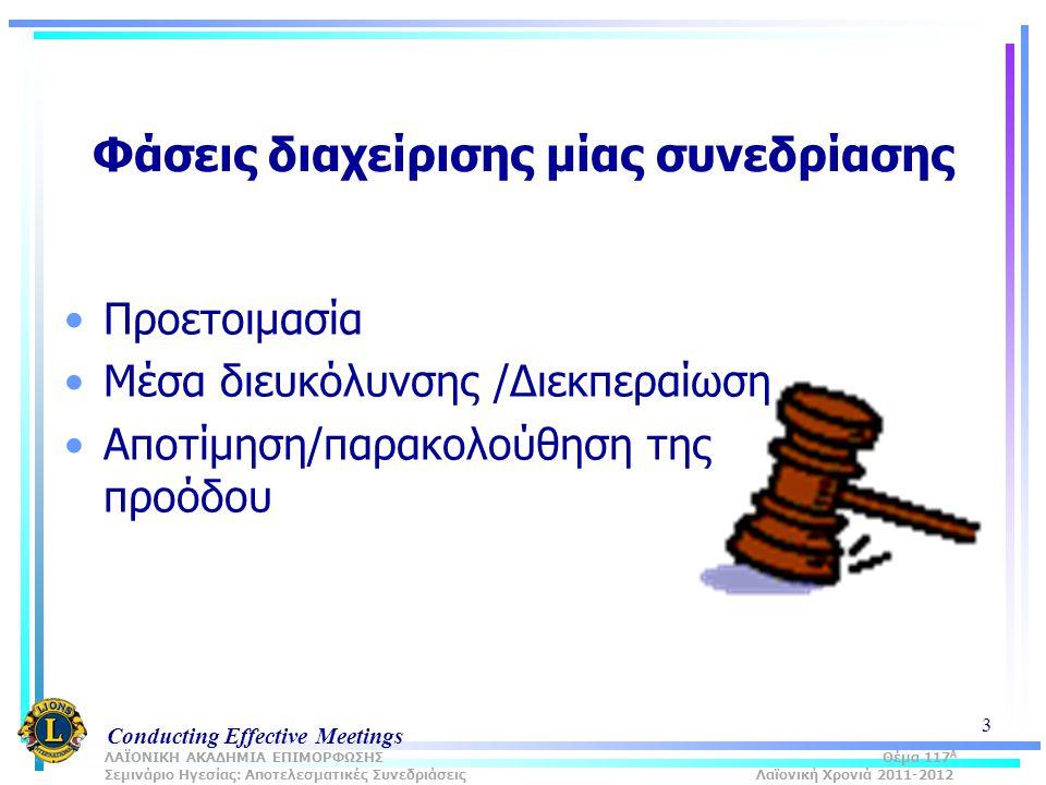 Conducting Effective Meetings 3 Φάσεις διαχείρισης μίας συνεδρίασης Προετοιμασία Μέσα διευκόλυνσης /Διεκπεραίωση Αποτίμηση/παρακολούθηση της προόδου ΛΑΪΟΝΙΚΗ ΑΚΑΔΗΜΙΑ ΕΠΙΜΟΡΦΩΣΗΣ Θέμα 117 Α Σεμινάριο Ηγεσίας: Αποτελεσματικές Συνεδριάσεις Λαϊονική Χρονιά 2011-2012