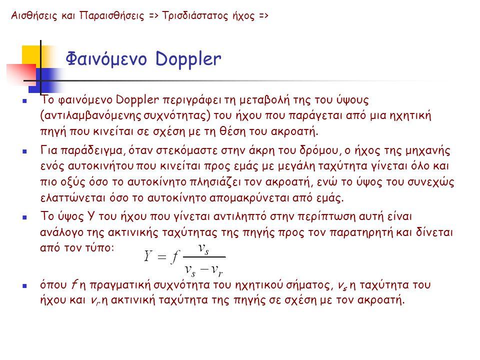 Φαινόμενο Doppler Το φαινόμενο Doppler περιγράφει τη μεταβολή της του ύψους (αντιλαμβανόμενης συχνότητας) του ήχου που παράγεται από μια ηχητική πηγή που κινείται σε σχέση με τη θέση του ακροατή.