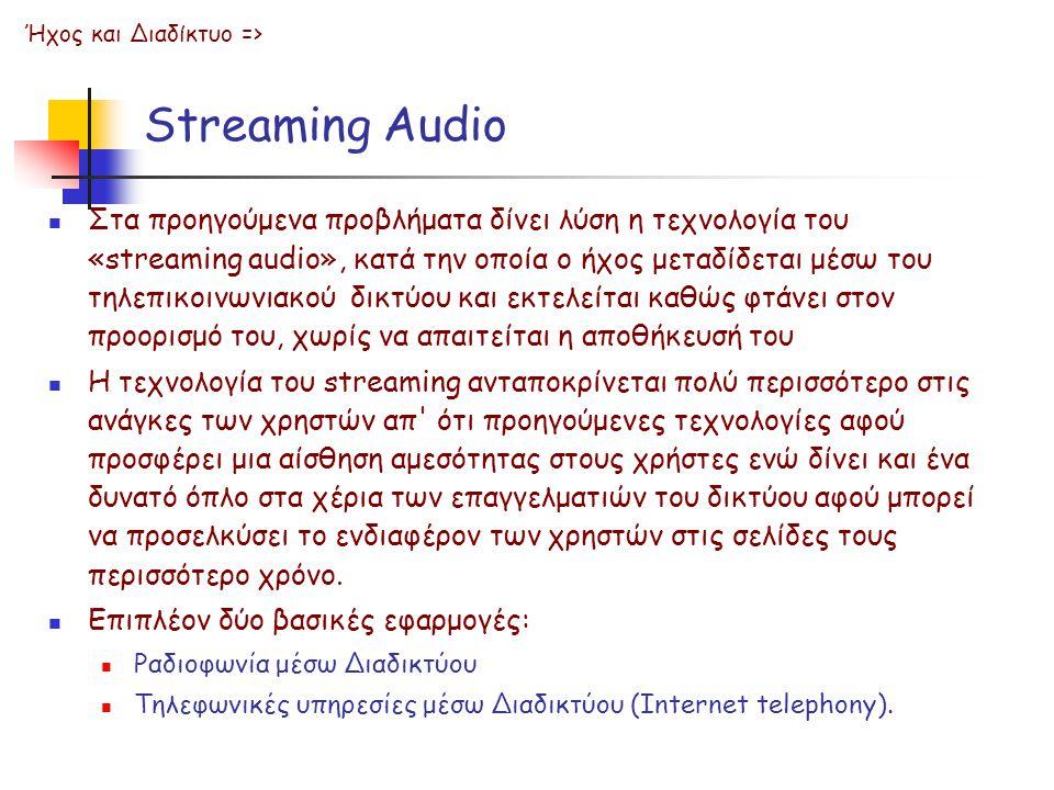 Streaming Audio Στα προηγούμενα προβλήματα δίνει λύση η τεχνολογία του «streaming audio», κατά την οποία ο ήχος μεταδίδεται μέσω του τηλεπικοινωνιακού δικτύου και εκτελείται καθώς φτάνει στον προορισμό του, χωρίς να απαιτείται η αποθήκευσή του Η τεχνολογία του streaming ανταποκρίνεται πολύ περισσότερο στις ανάγκες των χρηστών απ ότι προηγούμενες τεχνολογίες αφού προσφέρει μια αίσθηση αμεσότητας στους χρήστες ενώ δίνει και ένα δυνατό όπλο στα χέρια των επαγγελματιών του δικτύου αφού μπορεί να προσελκύσει το ενδιαφέρον των χρηστών στις σελίδες τους περισσότερο χρόνο.