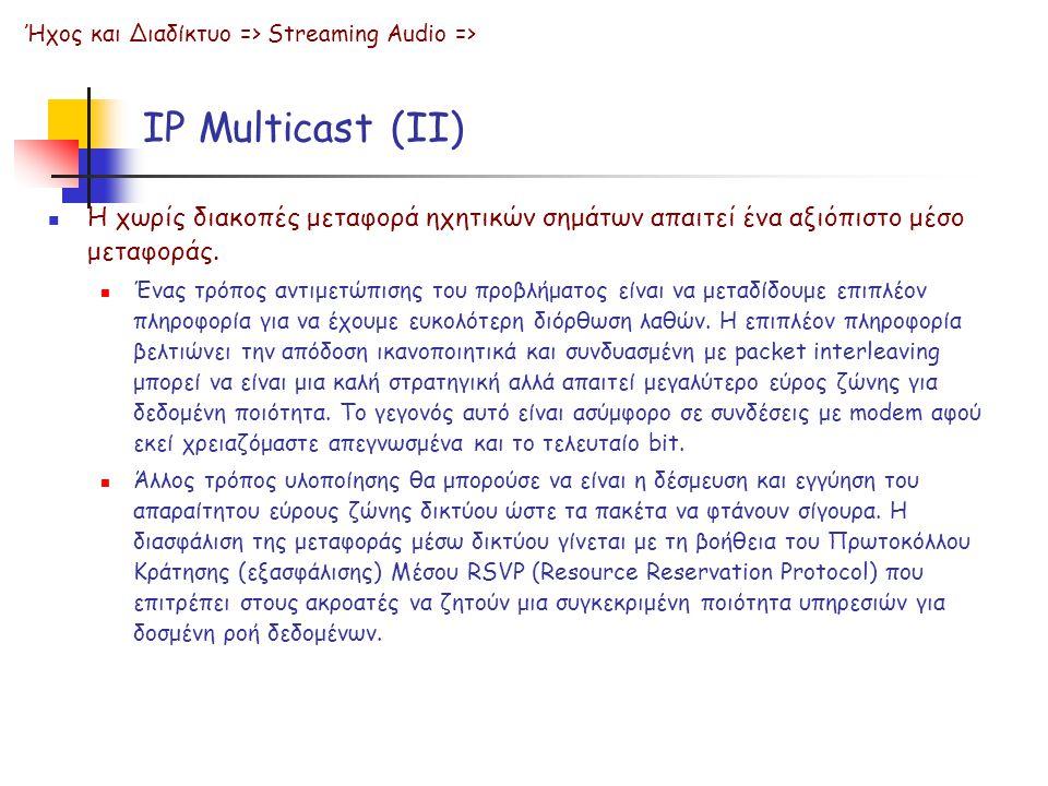 IP Multicast (ΙΙ) Η χωρίς διακοπές μεταφορά ηχητικών σημάτων απαιτεί ένα αξιόπιστο μέσο μεταφοράς. Ένας τρόπος αντιμετώπισης του προβλήματος είναι να