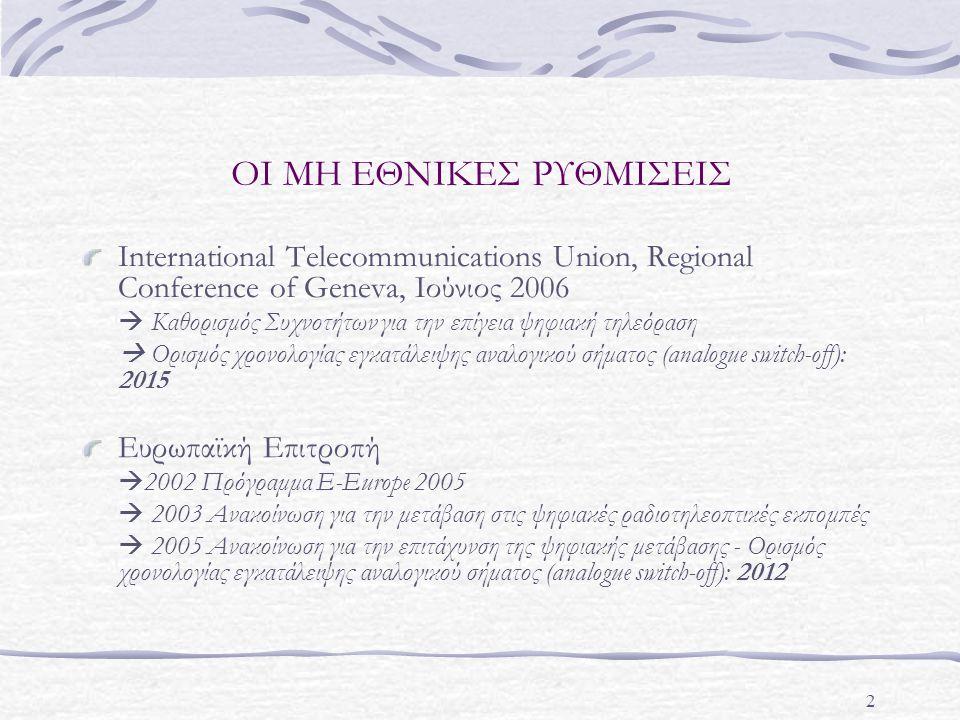 2 ΟΙ ΜΗ ΕΘΝΙΚΕΣ ΡΥΘΜΙΣΕΙΣ International Telecommunications Union, Regional Conference of Geneva, Ιούνιος 2006  Καθορισμός Συχνοτήτων για την επίγεια ψηφιακή τηλεόραση  Ορισμός χρονολογίας εγκατάλειψης αναλογικού σήματος (analogue switch-off): 2015 Ευρωπαϊκή Επιτροπή  2002 Πρόγραμμα Ε-Εurope 2005  2003 Ανακοίνωση για την μετάβαση στις ψηφιακές ραδιοτηλεοπτικές εκπομπές  2005 Ανακοίνωση για την επιτάχυνση της ψηφιακής μετάβασης - Ορισμός χρονολογίας εγκατάλειψης αναλογικού σήματος (analogue switch-off): 2012