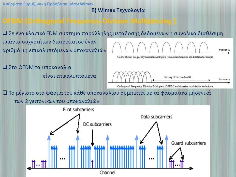 Ασύρματη Ευρυζωνική Πρόσβαση μέσω Wimax B) Wimax Τεχνολογία OFDM (Orthogonal Frequency-Division Multiplexing )  Σε ένα κλασικό FDM σύστημα παράλληλης μετάδοσης δεδομένων η συνολικά διαθέσιμη μπάντα συχνοτήτων διαιρείται σε έναν αριθμό μη επικαλυπτόμενων υποκαναλιών  Στο OFDM τα υποκανάλια είναι επικαλυπτόμενα  Το μέγιστο στο φάσμα του κάθε υποκαναλιού συμπίπτει με τα φασματικά μηδενικά των 2 γειτονικών του υποκαναλιών