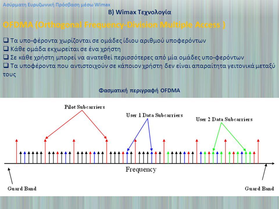 Ασύρματη Ευρυζωνική Πρόσβαση μέσω Wimax B) Wimax Τεχνολογία OFDMA (Orthogonal Frequency-Division Multiple Access )  Τα υπο-φέροντα χωρίζονται σε ομάδες ίδιου αριθμού υποφερόντων  Κάθε ομάδα εκχωρείται σε ένα χρήστη  Σε κάθε χρήστη μπορεί να ανατεθεί περισσότερες από μία ομάδες υπο-φερόντων  Τα υποφέροντα που αντιστοιχούν σε κάποιον χρήστη δεν είναι απαραίτητα γειτονικά μεταξύ τους Φασματική περιγραφή OFDMA