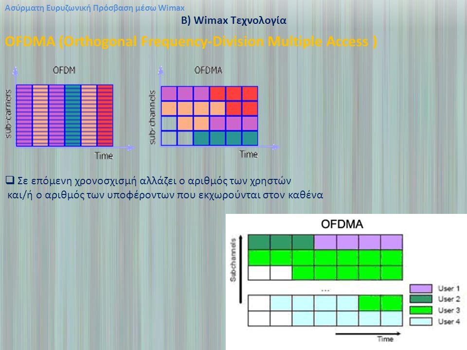 Ασύρματη Ευρυζωνική Πρόσβαση μέσω Wimax B) Wimax Τεχνολογία OFDMA (Orthogonal Frequency-Division Multiple Access )  Σε επόμενη χρονοσχισμή αλλάζει ο αριθμός των χρηστών και/ή ο αριθμός των υποφέροντων που εκχωρούνται στον καθένα