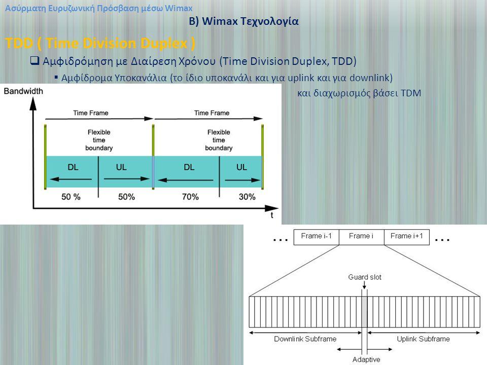 Ασύρματη Ευρυζωνική Πρόσβαση μέσω Wimax B) Wimax Τεχνολογία TDD ( Time Division Duplex )  Αμφιδρόμηση με Διαίρεση Χρόνου (Time Division Duplex, TDD)  Αμφίδρομα Υποκανάλια (το ίδιο υποκανάλι και για uplink και για downlink) και διαχωρισμός βάσει TDM