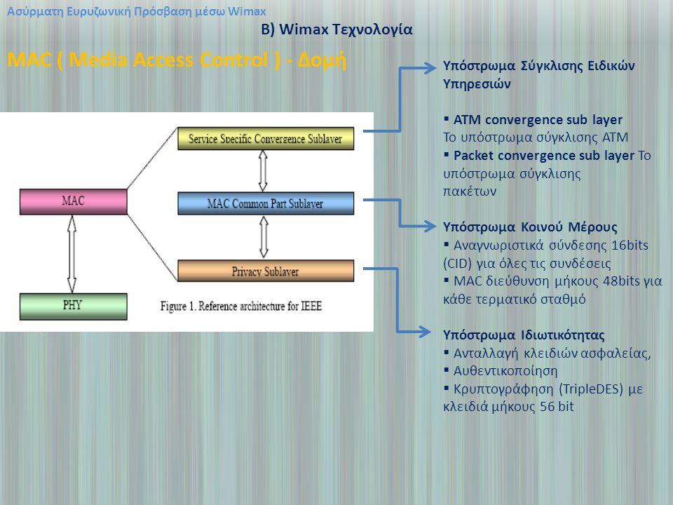 Ασύρματη Ευρυζωνική Πρόσβαση μέσω Wimax B) Wimax Τεχνολογία MAC ( Media Access Control ) - Δομή Υπόστρωμα Σύγκλισης Ειδικών Υπηρεσιών  ΑΤΜ convergence sub layer Το υπόστρωμα σύγκλισης ATM  Packet convergence sub layer Το υπόστρωμα σύγκλισης πακέτων Υπόστρωμα Κοινού Μέρους  Αναγνωριστικά σύνδεσης 16bits (CID) για όλες τις συνδέσεις  MAC διεύθυνση μήκους 48bits για κάθε τερματικό σταθμό Υπόστρωμα Ιδιωτικότητας  Ανταλλαγή κλειδιών ασφαλείας,  Αυθεντικοποίηση  Κρυπτογράφηση (TripleDES) με κλειδιά μήκους 56 bit