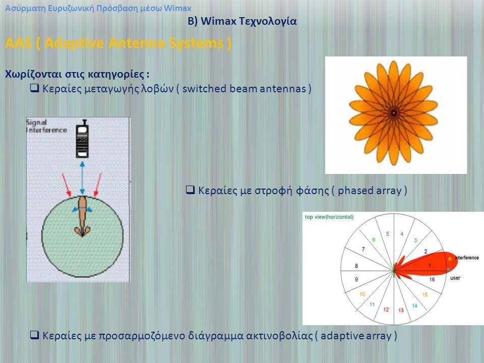 Ασύρματη Ευρυζωνική Πρόσβαση μέσω Wimax B) Wimax Τεχνολογία AAS ( Adaptive Antenna Systems ) Χωρίζονται στις κατηγορίες :  Κεραίες μεταγωγής λοβών ( switched beam antennas )  Κεραίες με στροφή φάσης ( phased array )  Κεραίες με προσαρμοζόμενο διάγραμμα ακτινοβολίας ( adaptive array )
