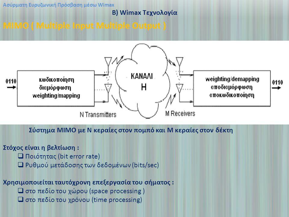 Ασύρματη Ευρυζωνική Πρόσβαση μέσω Wimax B) Wimax Τεχνολογία MIMO ( Multiple Input Multiple Output ) Σύστημα ΜΙΜΟ με Ν κεραίες στον πομπό και Μ κεραίες στον δέκτη Στόχος είναι η βελτίωση :  Ποιότητας (bit error rate)  Ρυθμού μετάδοσης των δεδομένων (bits/sec) Χρησιμοποιείται ταυτόχρονη επεξεργασία του σήματος :  στο πεδίο του χώρου (space processing )  στο πεδίο του χρόνου (time processing)