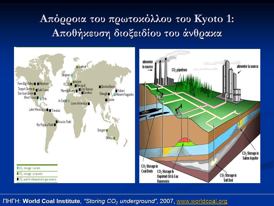 """Απόρροια του πρωτοκόλλου του Kyoto 1: Αποθήκευση διοξειδίου του άνθρακα ΠΗΓΗ: World Coal Institute, """"Storing CO 2 underground"""", 2007, www.worldcoal.or"""