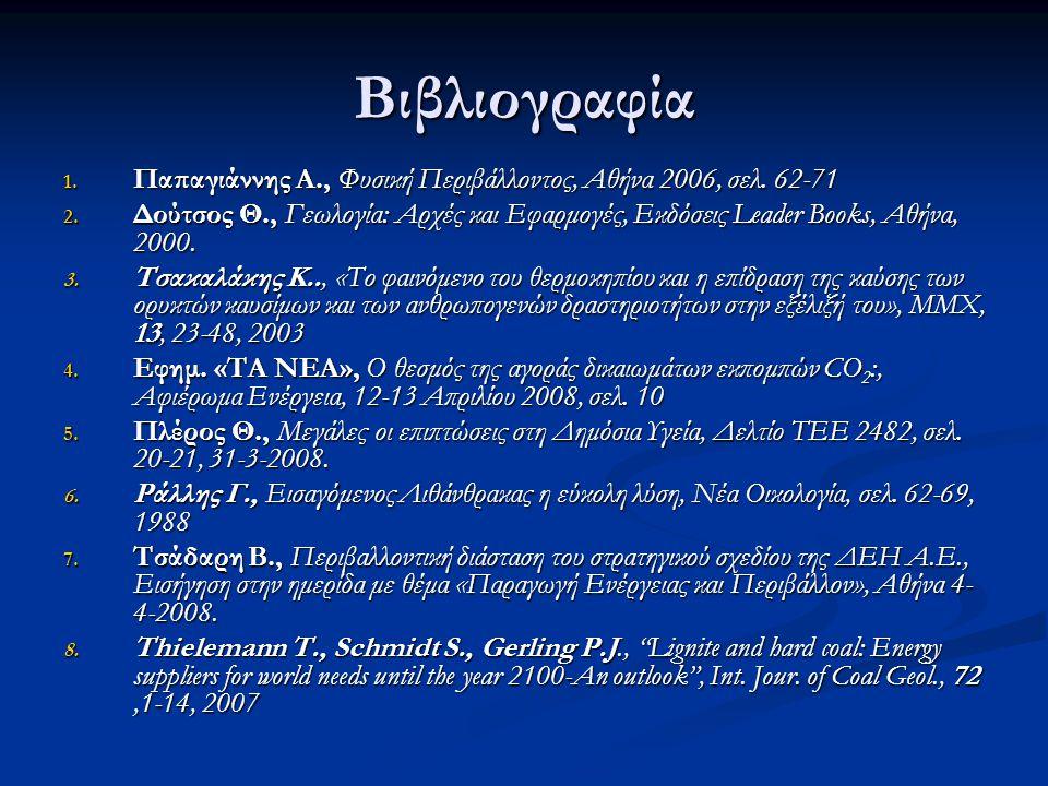 Βιβλιογραφία 1. Παπαγιάννης Α., Φυσική Περιβάλλοντος, Αθήνα 2006, σελ. 62-71 2. Δούτσος Θ., Γεωλογία: Αρχές και Εφαρμογές, Εκδόσεις Leader Books, Αθήν