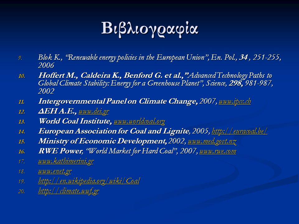 """Βιβλιογραφία 9. Blok K., """"Renewable energy policies in the European Union"""", En. Pol., 34, 251-255, 2006 10. Hoffert M., Caldeira K., Benford G. et al."""