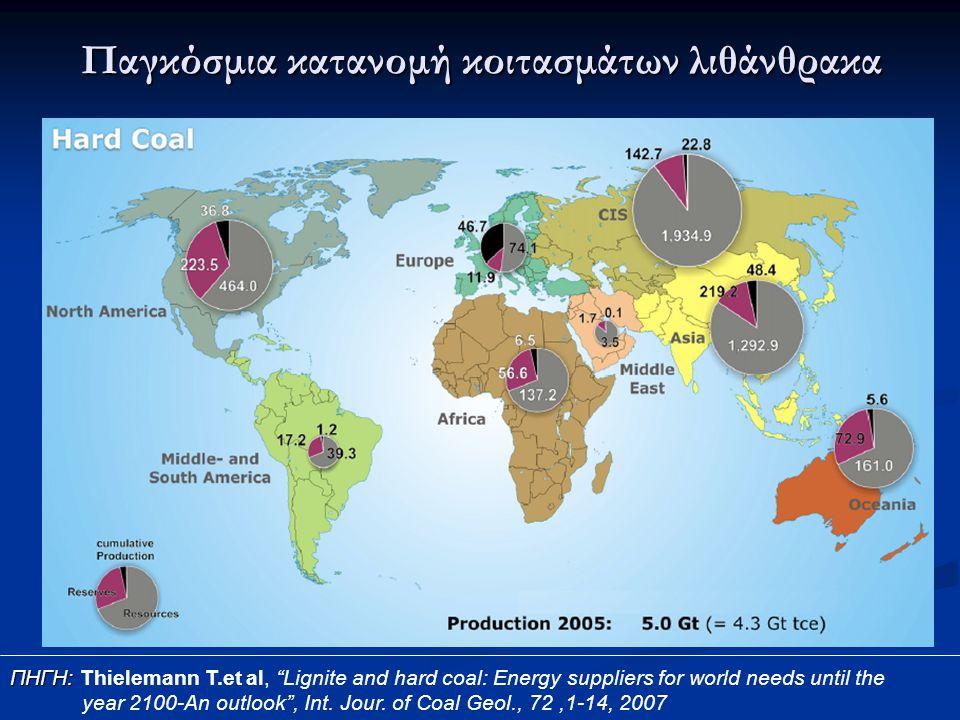"""Παγκόσμια κατανομή κοιτασμάτων λιθάνθρακα ΠΗΓΗ: ΠΗΓΗ: Thielemann T.et al, """"Lignite and hard coal: Energy suppliers for world needs until the year 2100"""