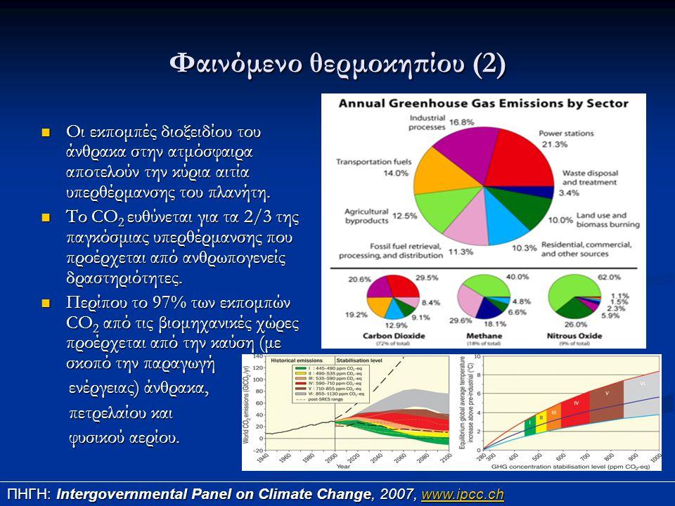 Φαινόμενο θερμοκηπίου (2) Οι εκπομπές διοξειδίου του άνθρακα στην ατμόσφαιρα αποτελούν την κύρια αιτία υπερθέρμανσης του πλανήτη. Οι εκπομπές διοξειδί