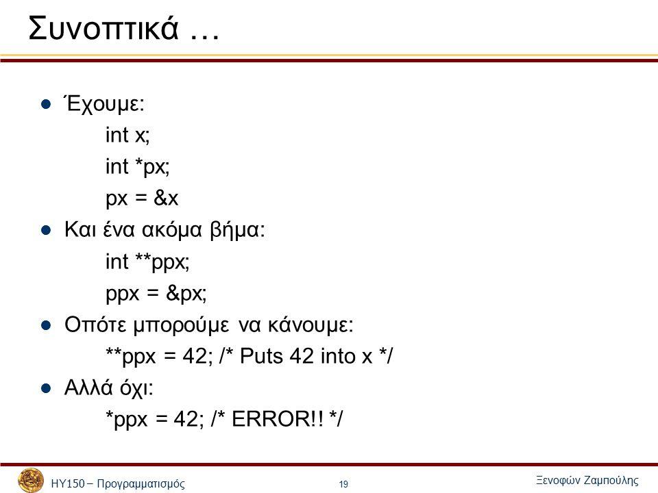 ΗΥ 150 – Προγραμματισμός Ξενοφών Ζαμ π ούλης 19 Συνοπτικά … Έχουμε: int x; int *px; px = &x Και ένα ακόμα βήμα: int **ppx; ppx = &px; Οπότε μπορούμε να κάνουμε: **ppx = 42; /* Puts 42 into x */ Αλλά όχι: *ppx = 42; /* ERROR!.
