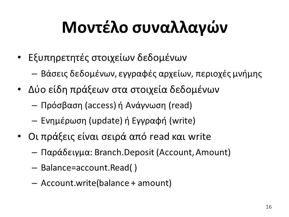 Μοντέλο συναλλαγών Εξυπηρετητές στοιχείων δεδομένων – Βάσεις δεδομένων, εγγραφές αρχείων, περιοχές μνήμης Δύο είδη πράξεων στα στοιχεία δεδομένων – Πρόσβαση (access) ή Ανάγνωση (read) – Ενημέρωση (update) ή Εγγραφή (write) Οι πράξεις είναι σειρά από read και write – Παράδειγμα: Branch.Deposit (Account, Amount) – Balance=account.Read( ) – Account.write(balance + amount) 16