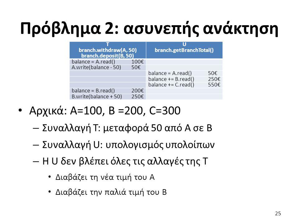 Πρόβλημα 2: ασυνεπής ανάκτηση T branch.withdraw(A, 50) branch.deposit(B, 50) U branch.getBranchTotal() balance = A.read()100€ A.write(balance - 50)50€ balance = A.read()50€ balance += B.read()250€ balance += C.read()550€ balance = B.read()200€ B.write(balance + 50)250€ 25 Αρχικά: A=100, B =200, C=300 – Συναλλαγή T: μεταφορά 50 από A σε B – Συναλλαγή U: υπολογισμός υπολοίπων – Η U δεν βλέπει όλες τις αλλαγές της T Διαβάζει τη νέα τιμή του A Διαβάζει την παλιά τιμή του B