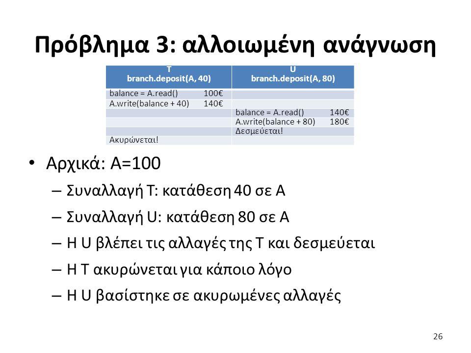 Πρόβλημα 3: αλλοιωμένη ανάγνωση T branch.deposit(A, 40) U branch.deposit(A, 80) balance = A.read()100€ A.write(balance + 40)140€ balance = A.read()140€ A.write(balance + 80)180€ Δεσμεύεται.