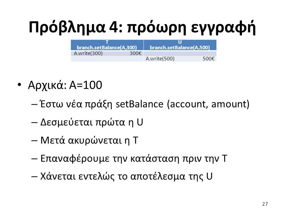 Πρόβλημα 4: πρόωρη εγγραφή T branch.setBalance(A,300) U branch.setBalance(A,500) A.write(300)300€ A.write(500)500€ Αρχικά: A=100 – Έστω νέα πράξη setBalance (account, amount) – Δεσμεύεται πρώτα η U – Μετά ακυρώνεται η T – Επαναφέρουμε την κατάσταση πριν την T – Χάνεται εντελώς το αποτέλεσμα της U 27