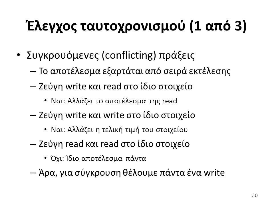 Έλεγχος ταυτοχρονισμού (1 από 3) Συγκρουόμενες (conflicting) πράξεις – Το αποτέλεσμα εξαρτάται από σειρά εκτέλεσης – Ζεύγη write και read στο ίδιο στοιχείο Ναι: Αλλάζει το αποτέλεσμα της read – Ζεύγη write και write στο ίδιο στοιχείο Ναι: Αλλάζει η τελική τιμή του στοιχείου – Ζεύγη read και read στο ίδιο στοιχείο Όχι: Ίδιο αποτέλεσμα πάντα – Άρα, για σύγκρουση θέλουμε πάντα ένα write 30
