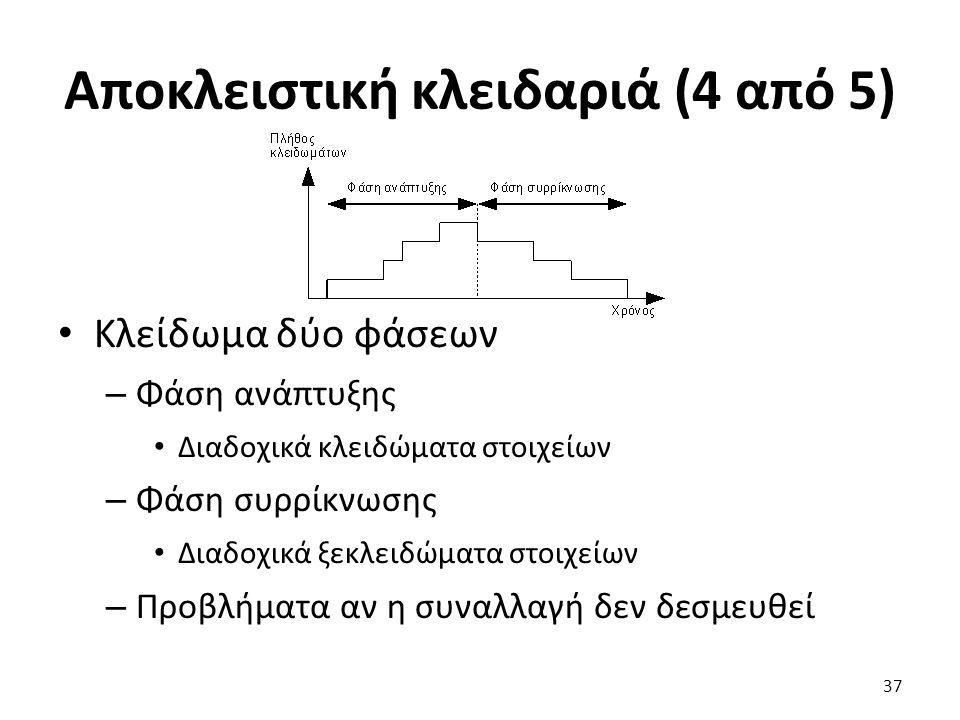 Αποκλειστική κλειδαριά (4 από 5) Κλείδωμα δύο φάσεων – Φάση ανάπτυξης Διαδοχικά κλειδώματα στοιχείων – Φάση συρρίκνωσης Διαδοχικά ξεκλειδώματα στοιχείων – Προβλήματα αν η συναλλαγή δεν δεσμευθεί 37