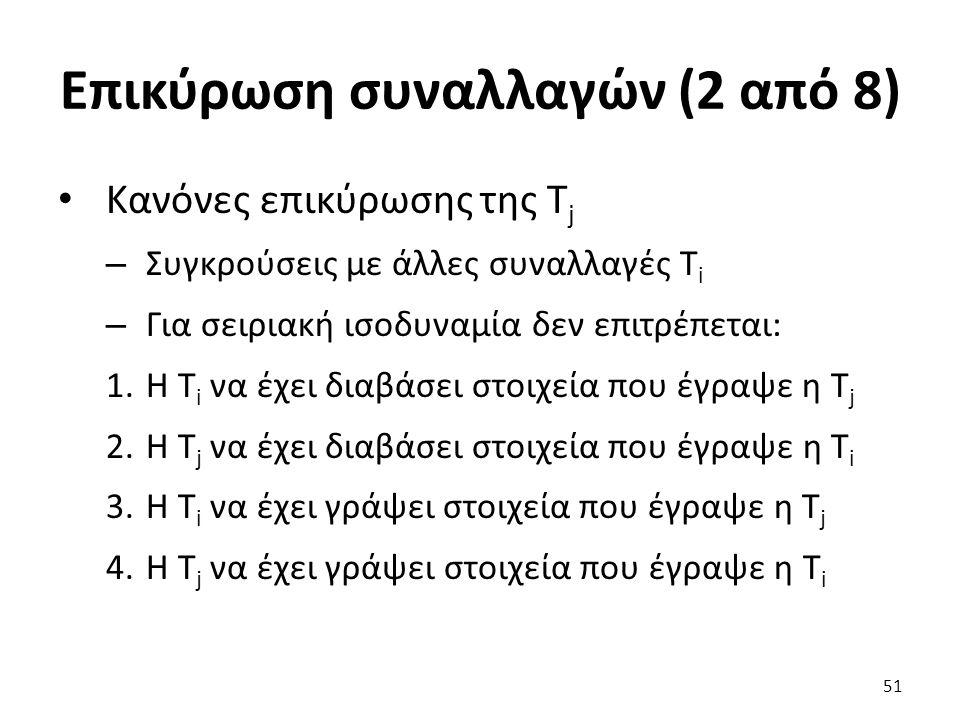 Επικύρωση συναλλαγών (2 από 8) Κανόνες επικύρωσης της T j – Συγκρούσεις με άλλες συναλλαγές Τ i – Για σειριακή ισοδυναμία δεν επιτρέπεται: 1.Η T i να έχει διαβάσει στοιχεία που έγραψε η T j 2.Η T j να έχει διαβάσει στοιχεία που έγραψε η T i 3.Η T i να έχει γράψει στοιχεία που έγραψε η T j 4.Η T j να έχει γράψει στοιχεία που έγραψε η T i 51