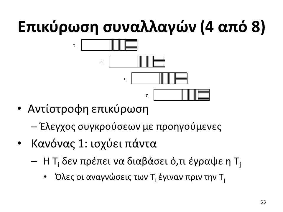 Επικύρωση συναλλαγών (4 από 8) Αντίστροφη επικύρωση – Έλεγχος συγκρούσεων με προηγούμενες Κανόνας 1: ισχύει πάντα – Η T i δεν πρέπει να διαβάσει ό,τι έγραψε η T j Όλες οι αναγνώσεις των T i έγιναν πριν την T j 53