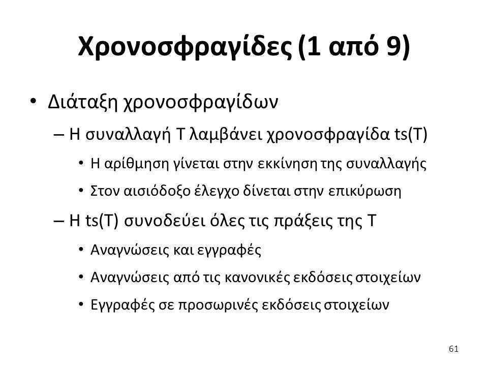Χρονοσφραγίδες (1 από 9) Διάταξη χρονοσφραγίδων – Η συναλλαγή T λαμβάνει χρονοσφραγίδα ts(T) Η αρίθμηση γίνεται στην εκκίνηση της συναλλαγής Στον αισιόδοξο έλεγχο δίνεται στην επικύρωση – Η ts(T) συνοδεύει όλες τις πράξεις της T Αναγνώσεις και εγγραφές Αναγνώσεις από τις κανονικές εκδόσεις στοιχείων Εγγραφές σε προσωρινές εκδόσεις στοιχείων 61