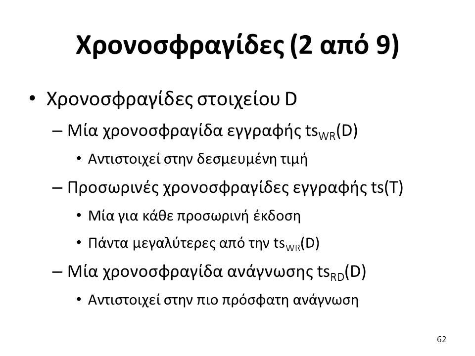 Χρονοσφραγίδες (2 από 9) Χρονοσφραγίδες στοιχείου D – Μία χρονοσφραγίδα εγγραφής ts WR (D) Αντιστοιχεί στην δεσμευμένη τιμή – Προσωρινές χρονοσφραγίδες εγγραφής ts(T) Μία για κάθε προσωρινή έκδοση Πάντα μεγαλύτερες από την ts WR (D) – Μία χρονοσφραγίδα ανάγνωσης ts RD (D) Αντιστοιχεί στην πιο πρόσφατη ανάγνωση 62