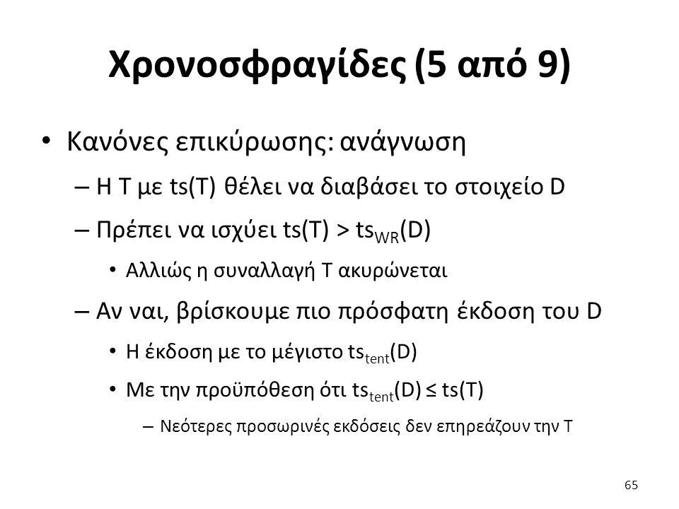 Χρονοσφραγίδες (5 από 9) Κανόνες επικύρωσης: ανάγνωση – Η T με ts(T) θέλει να διαβάσει το στοιχείο D – Πρέπει να ισχύει ts(T) > ts WR (D) Αλλιώς η συναλλαγή T ακυρώνεται – Αν ναι, βρίσκουμε πιο πρόσφατη έκδοση του D Η έκδοση με το μέγιστο ts tent (D) Με την προϋπόθεση ότι ts tent (D) ≤ ts(T) – Νεότερες προσωρινές εκδόσεις δεν επηρεάζουν την T 65