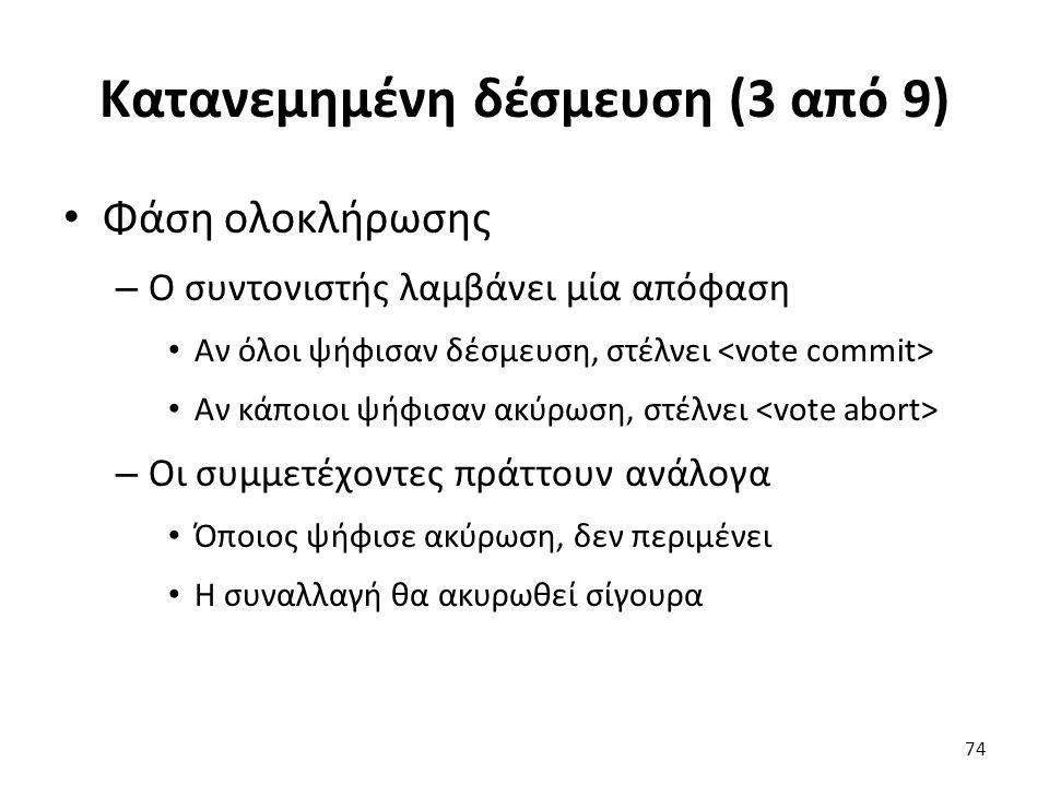 Κατανεμημένη δέσμευση (3 από 9) Φάση ολοκλήρωσης – Ο συντονιστής λαμβάνει μία απόφαση Αν όλοι ψήφισαν δέσμευση, στέλνει Αν κάποιοι ψήφισαν ακύρωση, στέλνει – Οι συμμετέχοντες πράττουν ανάλογα Όποιος ψήφισε ακύρωση, δεν περιμένει Η συναλλαγή θα ακυρωθεί σίγουρα 74