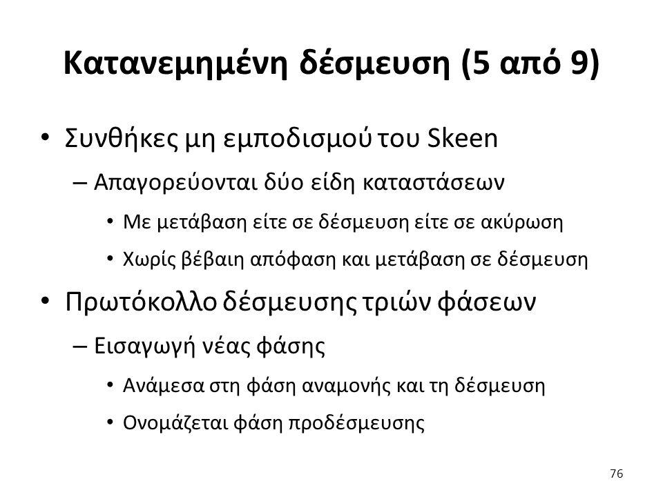 Κατανεμημένη δέσμευση (5 από 9) Συνθήκες μη εμποδισμού του Skeen – Απαγορεύονται δύο είδη καταστάσεων Mε μετάβαση είτε σε δέσμευση είτε σε ακύρωση Χωρίς βέβαιη απόφαση και μετάβαση σε δέσμευση Πρωτόκολλο δέσμευσης τριών φάσεων – Εισαγωγή νέας φάσης Ανάμεσα στη φάση αναμονής και τη δέσμευση Ονομάζεται φάση προδέσμευσης 76
