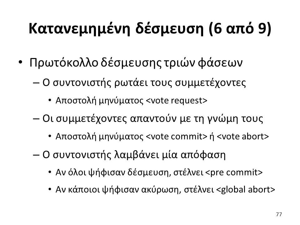 Κατανεμημένη δέσμευση (6 από 9) Πρωτόκολλο δέσμευσης τριών φάσεων – Ο συντονιστής ρωτάει τους συμμετέχοντες Αποστολή μηνύματος – Οι συμμετέχοντες απαντούν με τη γνώμη τους Αποστολή μηνύματος ή – Ο συντονιστής λαμβάνει μία απόφαση Αν όλοι ψήφισαν δέσμευση, στέλνει Αν κάποιοι ψήφισαν ακύρωση, στέλνει 77
