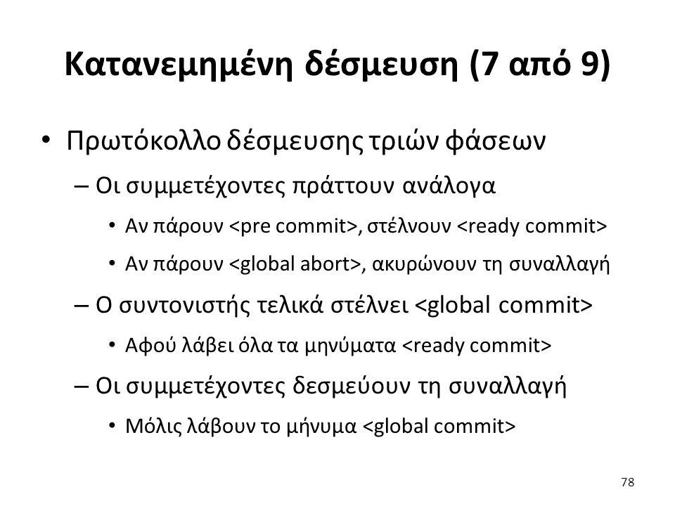 Κατανεμημένη δέσμευση (7 από 9) Πρωτόκολλο δέσμευσης τριών φάσεων – Οι συμμετέχοντες πράττουν ανάλογα Αν πάρουν, στέλνουν Αν πάρουν, ακυρώνουν τη συναλλαγή – Ο συντονιστής τελικά στέλνει Αφού λάβει όλα τα μηνύματα – Οι συμμετέχοντες δεσμεύουν τη συναλλαγή Μόλις λάβουν το μήνυμα 78