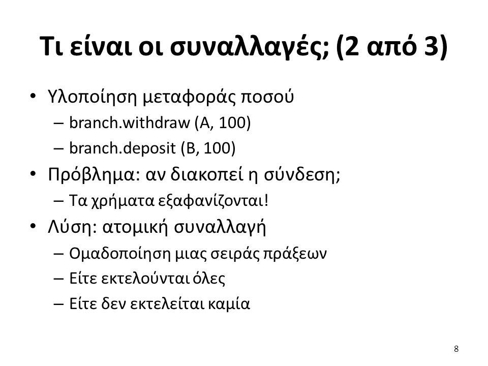 Τι είναι οι συναλλαγές; (2 από 3) Υλοποίηση μεταφοράς ποσού – branch.withdraw (A, 100) – branch.deposit (B, 100) Πρόβλημα: αν διακοπεί η σύνδεση; – Tα χρήματα εξαφανίζονται.