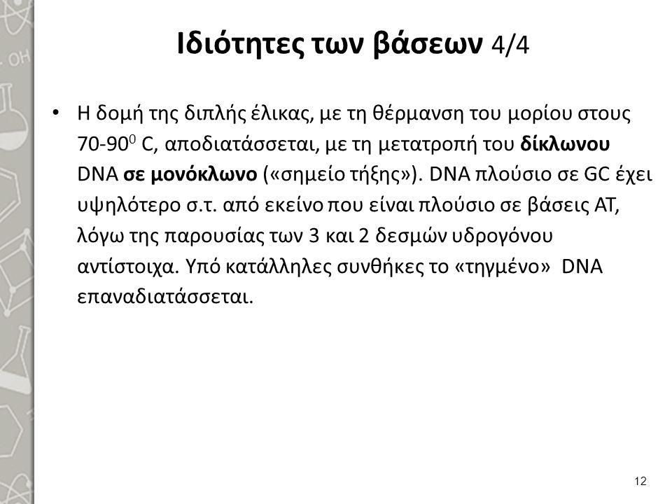 Ιδιότητες των βάσεων 4/4 Η δομή της διπλής έλικας, με τη θέρμανση του μορίου στους 70-90 0 C, αποδιατάσσεται, με τη μετατροπή του δίκλωνου DNA σε μονό