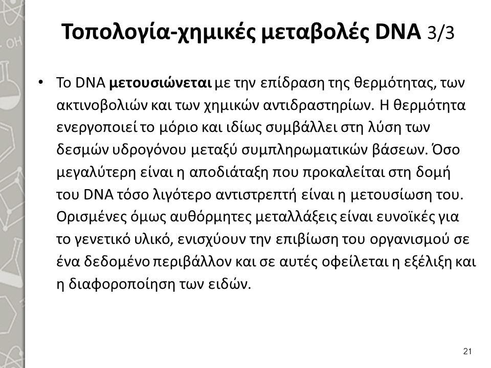 Τοπολογία-χημικές μεταβολές DNA 3/3 Το DΝΑ μετουσιώνεται με την επίδραση της θερμότητας, των ακτινοβολιών και των χημικών αντιδραστηρίων. Η θερμότητα