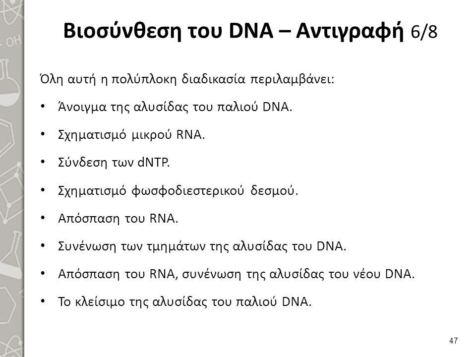Βιοσύνθεση του DNA – Αντιγραφή 6/8 Όλη αυτή η πολύπλοκη διαδικασία περιλαμβάνει: Άνοιγμα της αλυσίδας του παλιού DNA. Σχηματισμό μικρού RNA. Σύνδεση τ