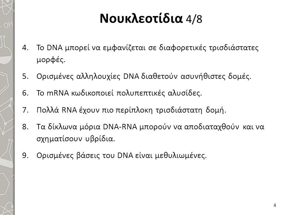 Νουκλεοτίδια 4/8 4.Το DNA μπορεί να εμφανίζεται σε διαφορετικές τρισδιάστατες μορφές. 5.Ορισμένες αλληλουχίες DNA διαθετούν ασυνήθιστες δομές. 6.Το mR