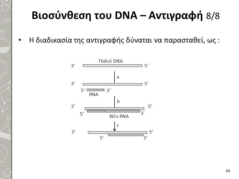 Βιοσύνθεση του DNA – Αντιγραφή 8/8 Η διαδικασία της αντιγραφής δύναται να παρασταθεί, ως : 49 3' 5' 3' 5' 3' 5' 3' 5' 3' 5' 3' 5' 3' 5' Παλιό DNA RNA