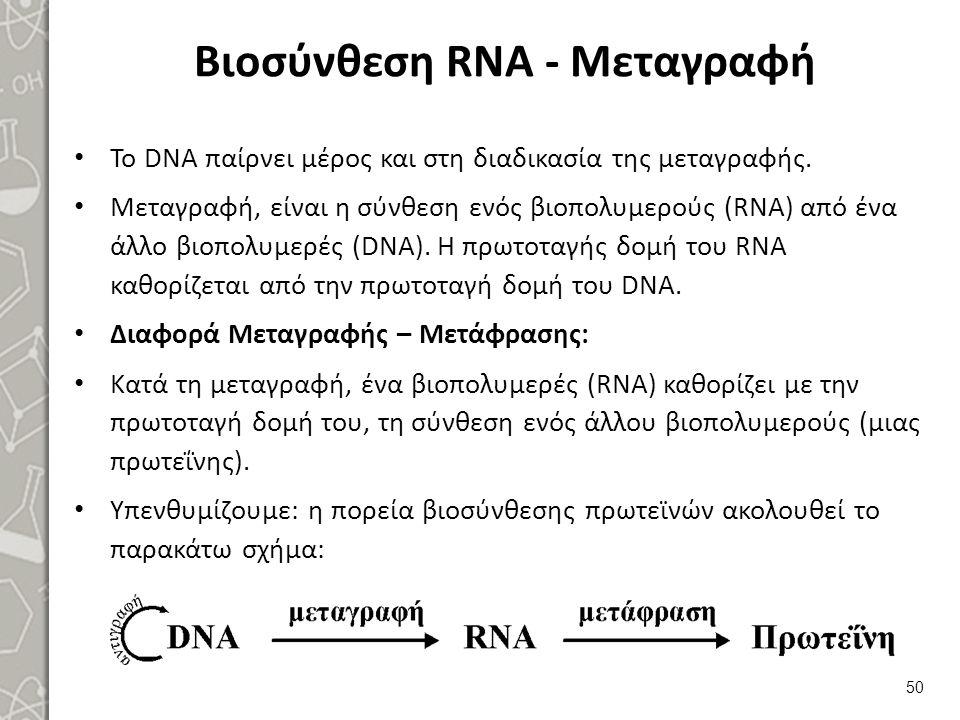 Βιοσύνθεση RNA - Μεταγραφή Το DNA παίρνει μέρος και στη διαδικασία της μεταγραφής. Μεταγραφή, είναι η σύνθεση ενός βιοπολυμερούς (RNA) από ένα άλλο βι