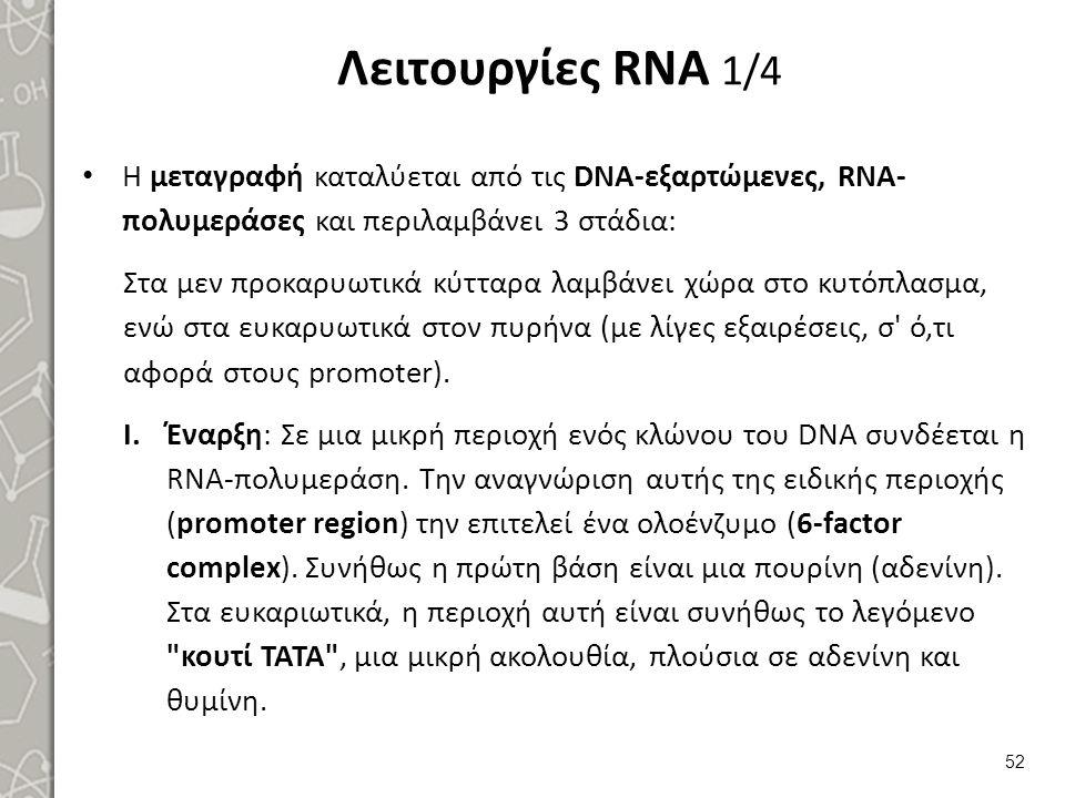 Λειτουργίες RNA 1/4 Η μεταγραφή καταλύεται από τις DNA-εξαρτώμενες, RNA- πολυμεράσες και περιλαμβάνει 3 στάδια: Στα μεν προκαρυωτικά κύτταρα λαμβάνει