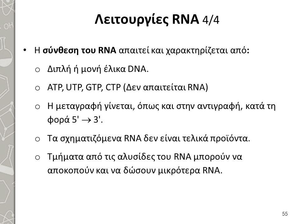 Λειτουργίες RNA 4/4 Η σύνθεση του RNA απαιτεί και χαρακτηρίζεται από: o Διπλή ή μονή έλικα DNA. o ATP, UTP, GTP, CTP (Δεν απαιτείται RNA) o H μεταγραφ