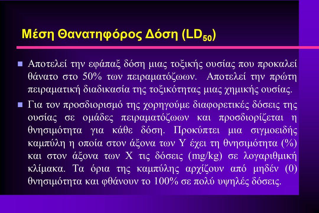 Μέση Θανατηφόρος Δόση (LD 50 ) n Αποτελεί την εφάπαξ δόση μιας τοξικής ουσίας που προκαλεί θάνατο στο 50% των πειραματόζωων. Αποτελεί την πρώτη πειραμ