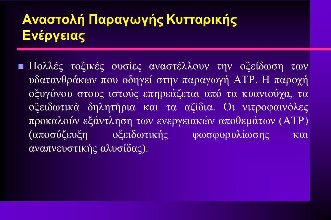 Αναστολή Παραγωγής Κυτταρικής Ενέργειας n Πολλές τοξικές ουσίες αναστέλλουν την οξείδωση των υδατανθράκων που οδηγεί στην παραγωγή ATP. Η παροχή οξυγό